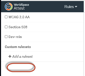 After removal action, the refreshed Rules left sidebar menu no longer displays the custom ruleset as an available option