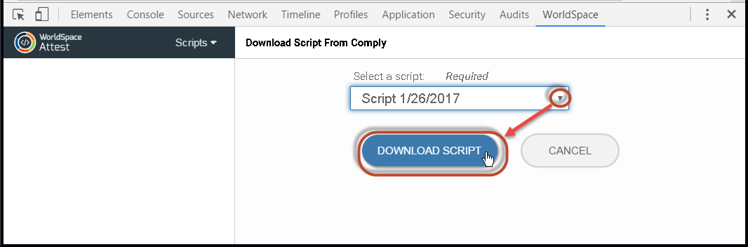 Selecting a script from the drop-down menu, then clicking the DOWNLOAD SCRIPT button
