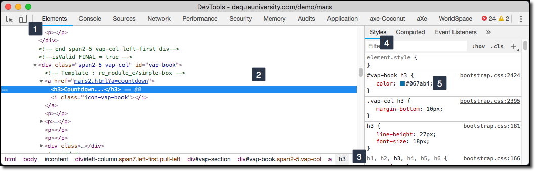 Example of a target element in a violation being displayed in the Page Inspector developer tool