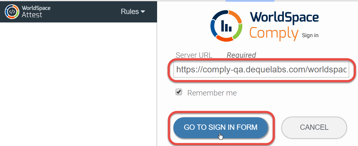 Entering the Server URL and clicking the GO TO SIGN IN FORM button