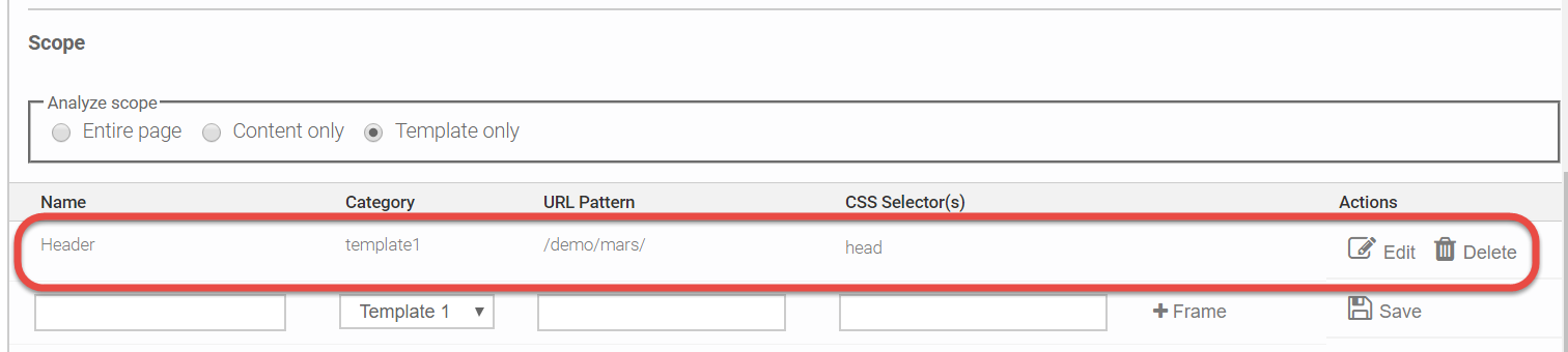 Example of the Scope Definition table populated showing the previously entered and added information in the Name, Category, URL pattern, and XPath columns along with an Edit and Delete button in the Actions column