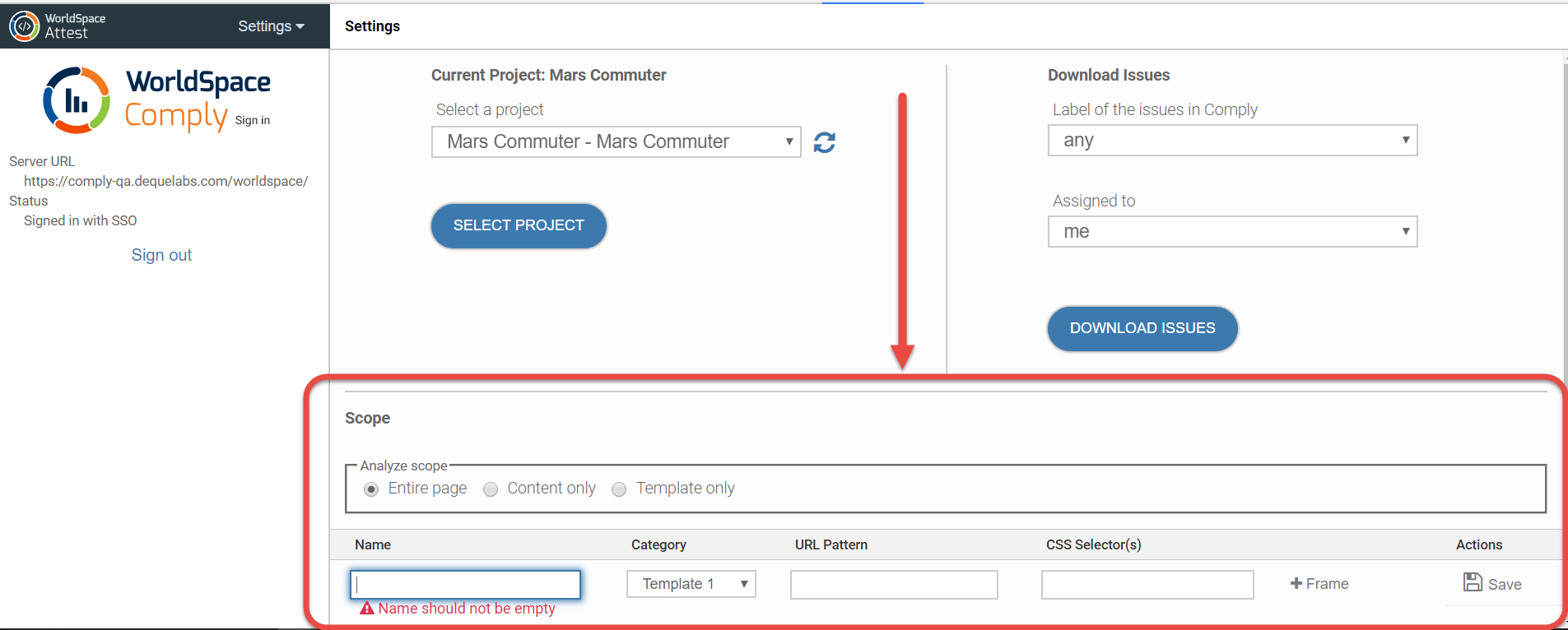 the location of the Scope section at the bottom of the Settings panel appearing below the project selection and issue download sections after signing in and selecting a project