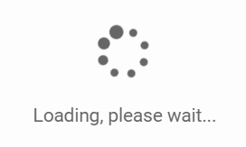 a loading, please wait message with spinning wheel icon