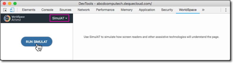 Clicking the RUN SIMULAT button on the SimulAT panel in Attest extension