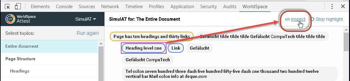 Example of clicking the Inspect link on the SimulAT toolbar while an element in the simulation results pane is selected