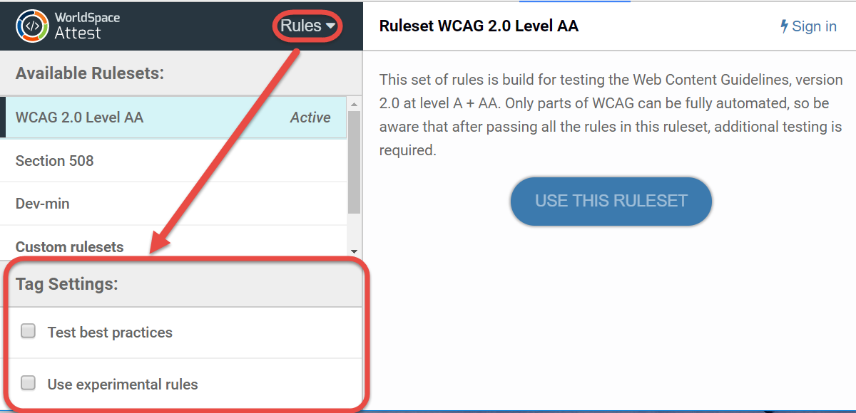 location of the Tag Settings section of the Rules panel at bottom, left