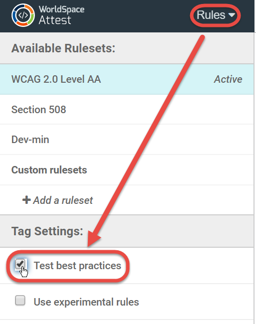 checking the Test best practices checkbox in the Tag Settings section of the left pane of the Rules panel