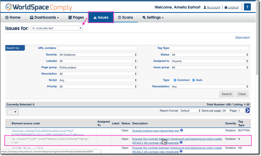 Uploaded issue example in WorldSpace Comply on Issues > Issues for project page