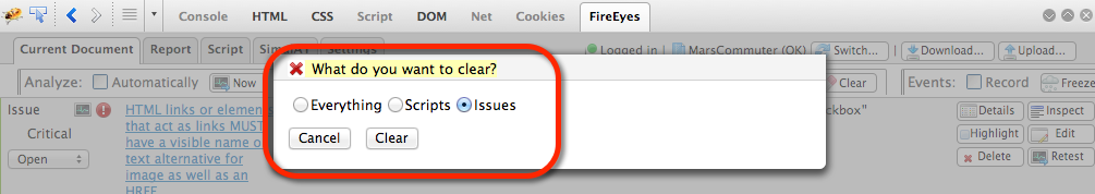 Clear issues dialog