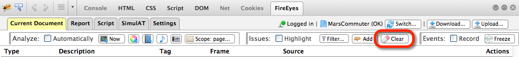 Clear issues button in the FireEyes toolbars
