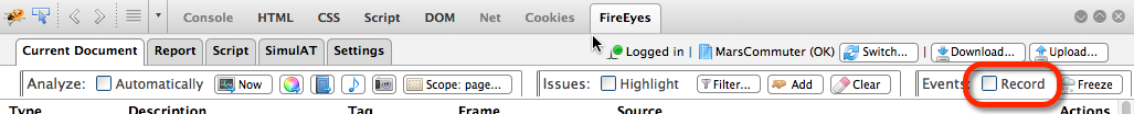 The Record checkbox on the FireEyes Current Document tab