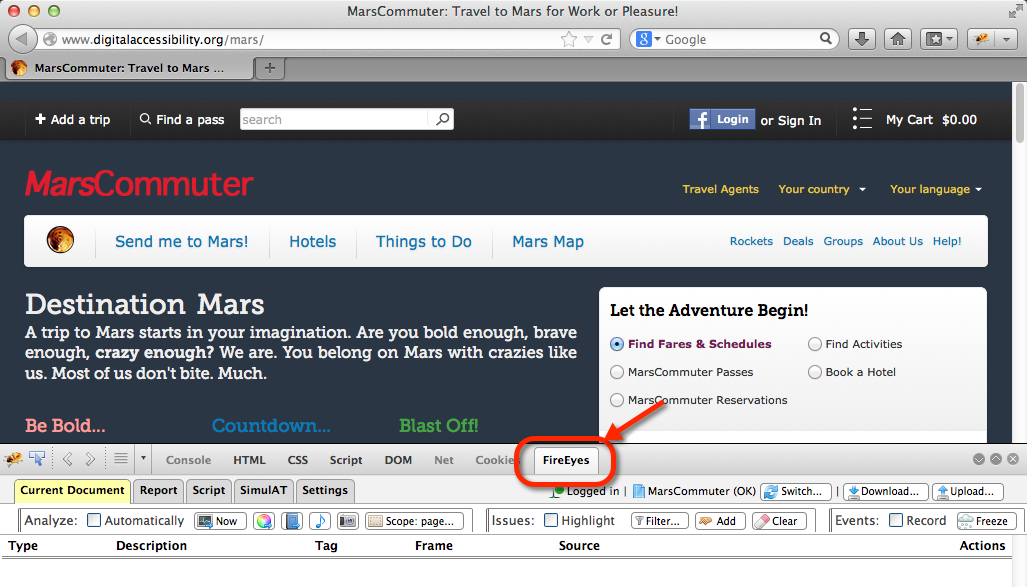 screenshot of FireEyes at the bottom of the Firefox browser, ready to analyze a page