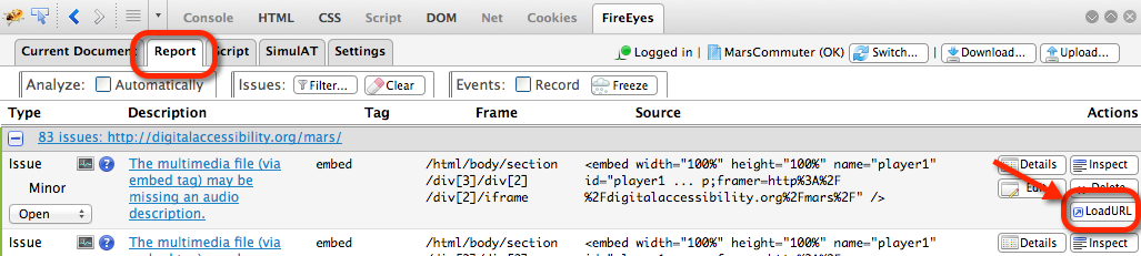 The Load URL button in the FireEyes Report tab