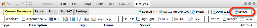 The Upload button in the FireEyes toolbar